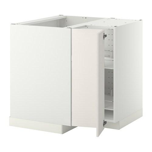METOD Hjørneunderskab med karrusel - hvid, Veddinge hvid - IKEA