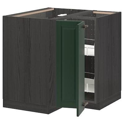 METOD Hjørneunderskab med karrusel, sort/Bodbyn mørkegrøn, 88x88 cm