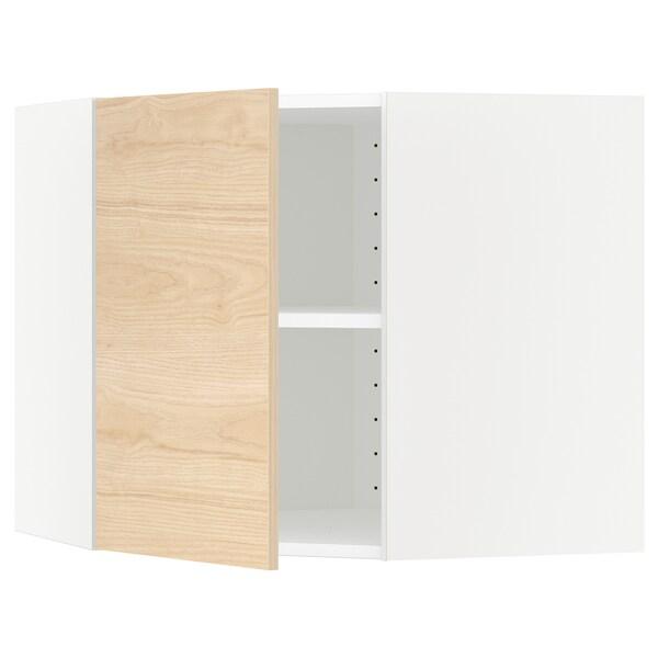METOD Hjørnevægskab med hylder, hvid/Askersund lyst askemønster, 68x60 cm