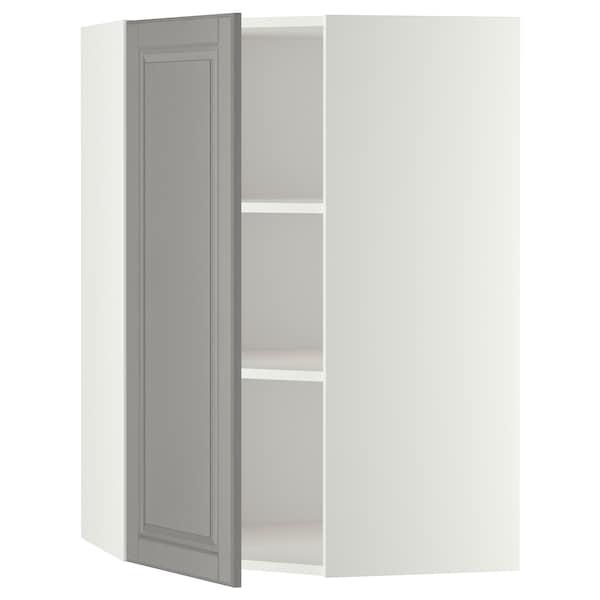 METOD Hjørnevægskab med hylder, hvid/Bodbyn grå, 68x100 cm