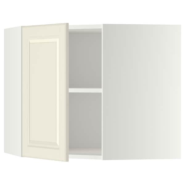 METOD Hjørnevægskab med hylder, hvid/Bodbyn råhvid, 68x60 cm