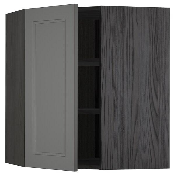 METOD Hjørnevægskab med hylder, sort/Axstad mørkegrå, 68x80 cm