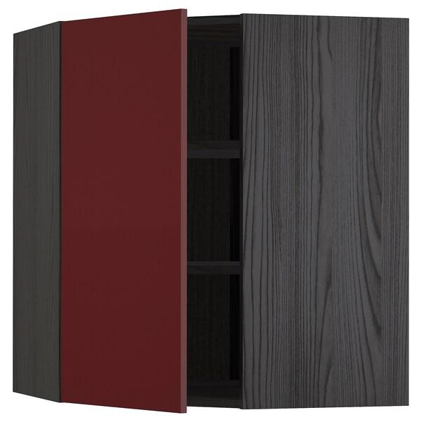 METOD Hjørnevægskab med hylder, sort Kallarp/højglans mørk rødbrun, 68x80 cm