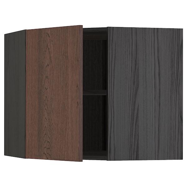 METOD Hjørnevægskab med hylder, sort/Sinarp brun, 68x60 cm