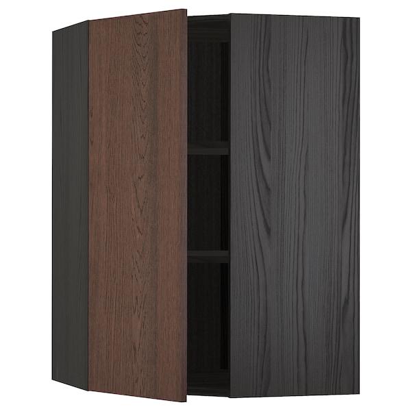 METOD Hjørnevægskab med hylder, sort/Sinarp brun, 68x100 cm