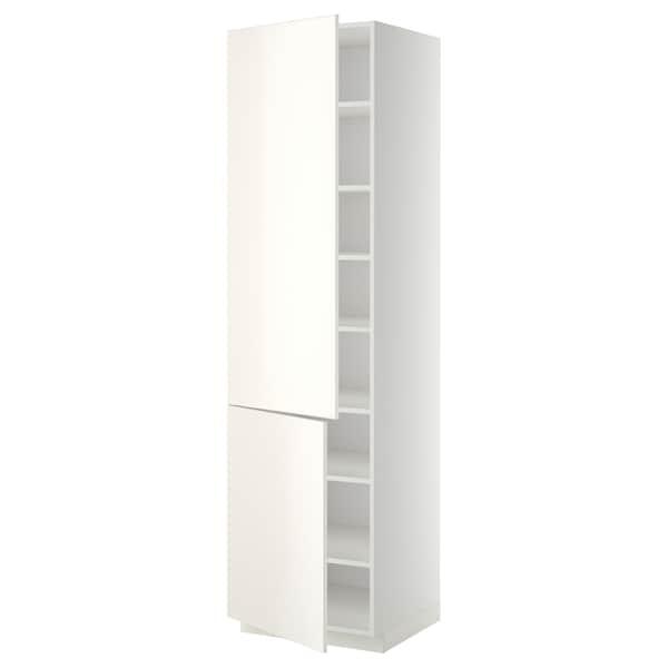 METOD Højskab med hylder/2 låger, hvid/Veddinge hvid, 60x60x220 cm