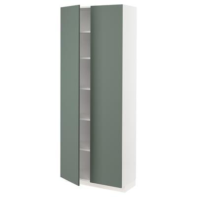 METOD Højskab med hylder, hvid/Bodarp grågrøn, 80x37x200 cm