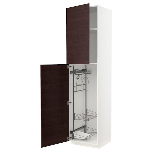 METOD Højskab med opbev rengøringsart, hvid Askersund/mørkebrun asketræsmønster, 60x60x240 cm