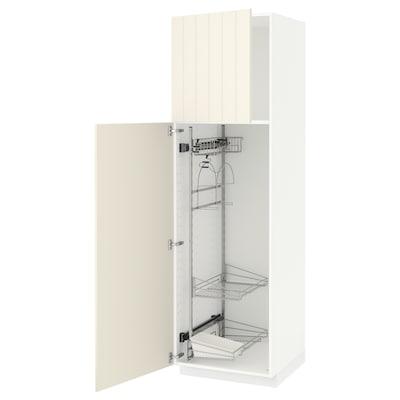 METOD Højskab med opbevar rengøringsartik, hvid/Hittarp råhvid, 60x60x200 cm
