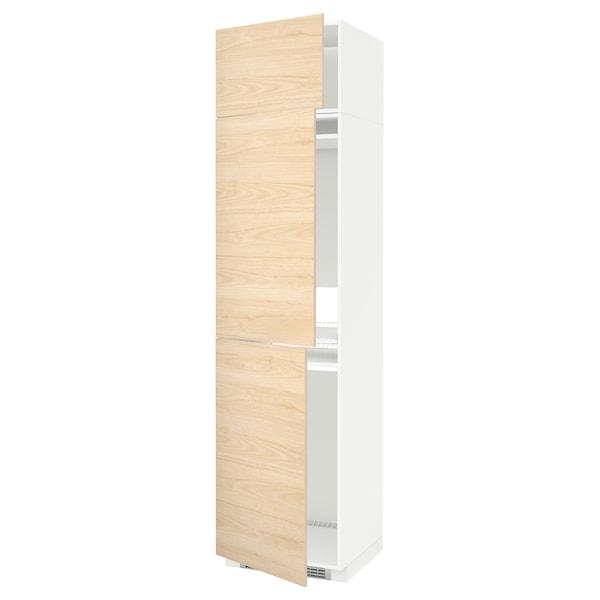METOD Højskab til køl/frys med 3 låger, hvid/Askersund lyst askemønster, 60x60x240 cm