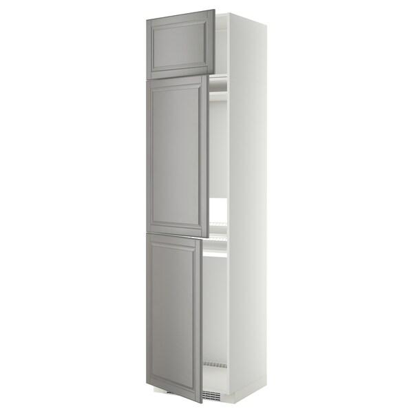 METOD Højskab til køl/frys med 3 låger, hvid/Bodbyn grå, 60x60x240 cm