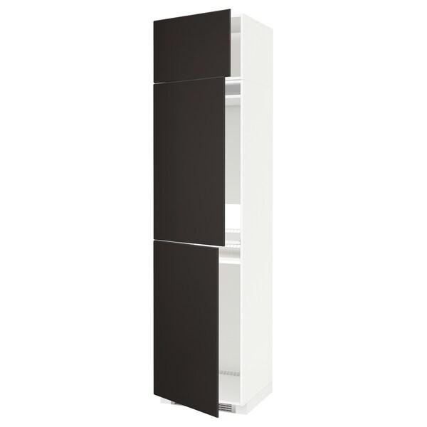 METOD Højskab til køl/frys med 3 låger, hvid/Kungsbacka antracit, 60x60x240 cm
