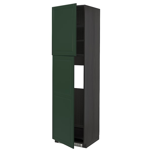 METOD Højskab til køleskab med 2 låger, sort/Bodbyn mørkegrøn, 60x60x220 cm