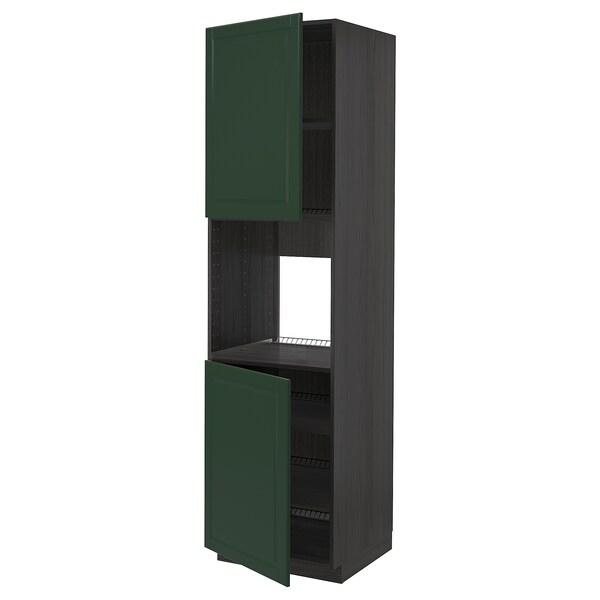 METOD Højskab til ovn med 2 låger/hylder, sort/Bodbyn mørkegrøn, 60x60x220 cm