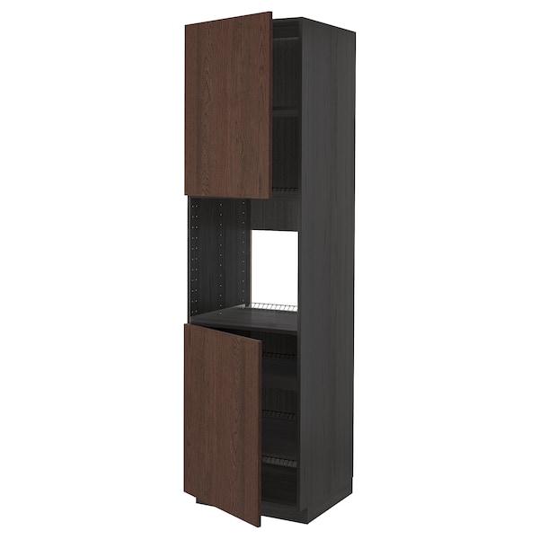 METOD Højskab til ovn med 2 låger/hylder, sort/Sinarp brun, 60x60x220 cm