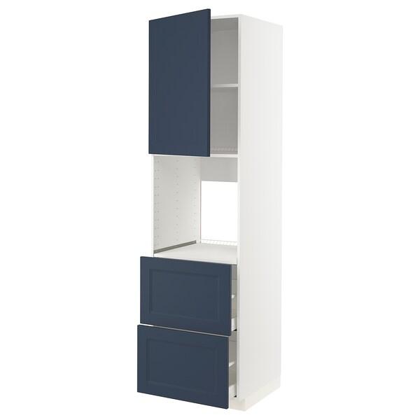 METOD / MAXIMERA Højska ovn skuf/2 front/2 dybe skuf, hvid Axstad/mat overflade blå, 60x60x220 cm