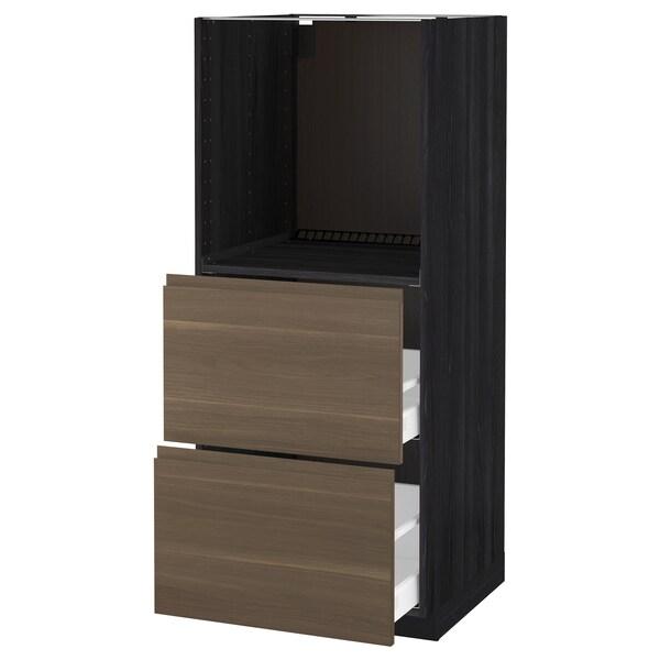 METOD / MAXIMERA Højskab m. 2 skuffer til ovn, sort/Voxtorp valnøddetræ, 60x60x140 cm