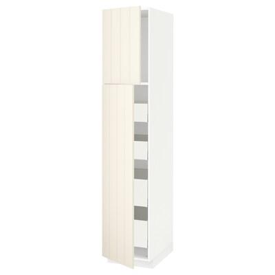 METOD / MAXIMERA Højskab med 2 låger/4 skuffer, hvid/Hittarp råhvid, 40x60x200 cm