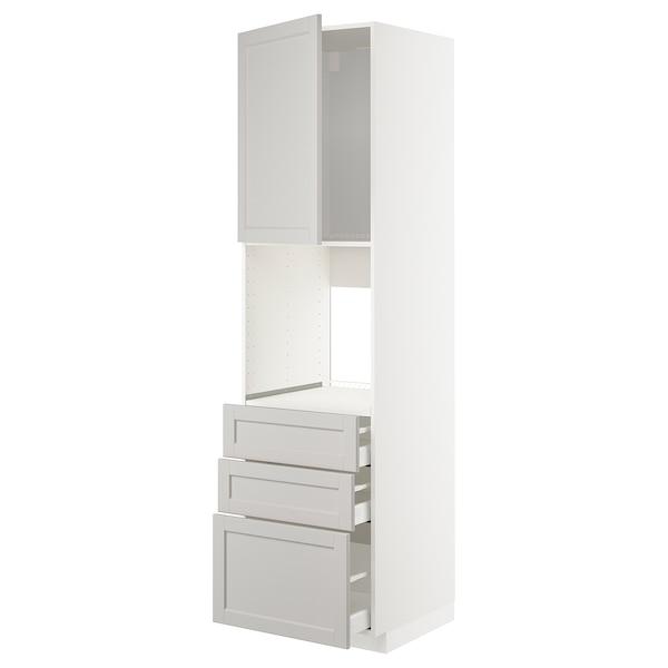 METOD / MAXIMERA Højskab til ovn med låge/3 skuffer, hvid/Lerhyttan lysegrå, 60x60x220 cm