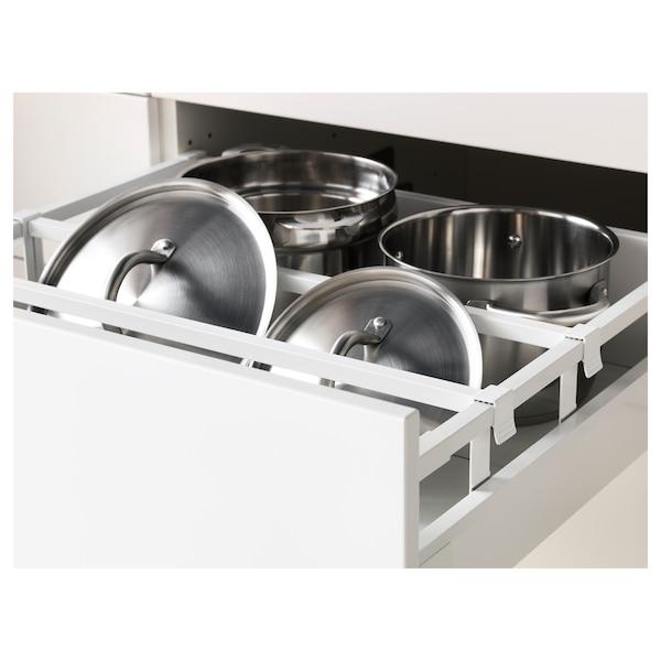 METOD / MAXIMERA Højskab til ovn/mikro m låg/2 skuf, hvid/Bodbyn råhvid, 60x60x200 cm