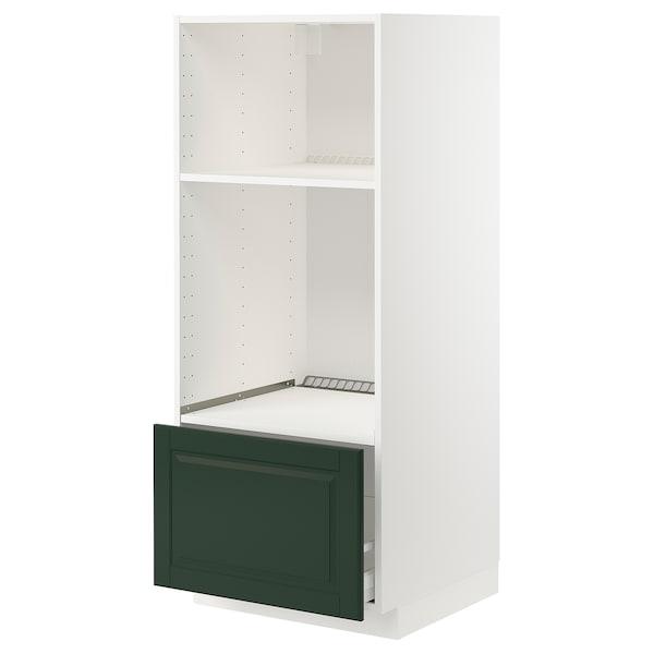 METOD / MAXIMERA Hsk ovn/mikro m skuf, hvid/Bodbyn mørkegrøn, 60x60x140 cm