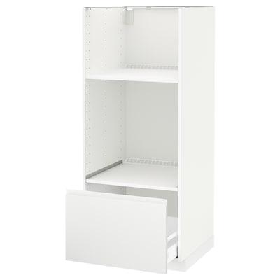 METOD / MAXIMERA Hsk ovn/mikro m skuf, hvid/Voxtorp mat hvid, 60x60x140 cm