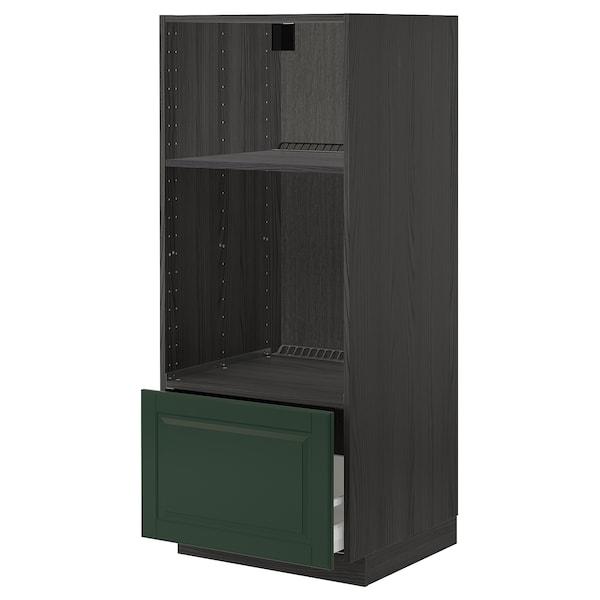 METOD / MAXIMERA Hsk ovn/mikro m skuf, sort/Bodbyn mørkegrøn, 60x60x140 cm