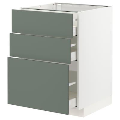 METOD / MAXIMERA Underskab med 3 skuffer, hvid/Bodarp grågrøn, 60x60 cm