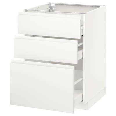 METOD / MAXIMERA Underskab med 3 skuffer, hvid/Voxtorp mat hvid, 60x60 cm