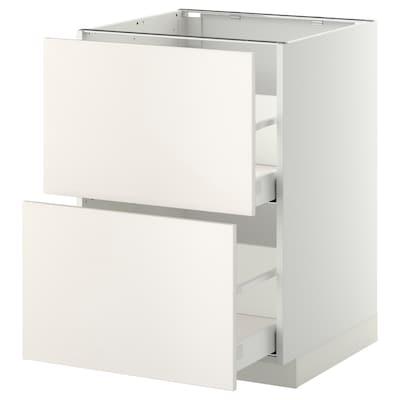 METOD / MAXIMERA Usk 2 front/2 høj skuf, hvid/Veddinge hvid, 60x60 cm