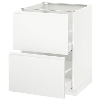 METOD / MAXIMERA Usk 2 front/2 høj skuf, hvid/Voxtorp mat hvid, 60x60 cm