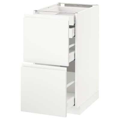 METOD / MAXIMERA Usk 2 front/2 lave/1 mel/1 høj skuf, hvid/Voxtorp mat hvid, 40x60 cm