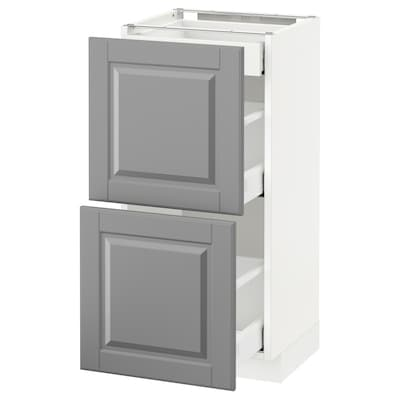 METOD / MAXIMERA Usk 2 fronter/3 skuffer, hvid/Bodbyn grå, 40x37 cm
