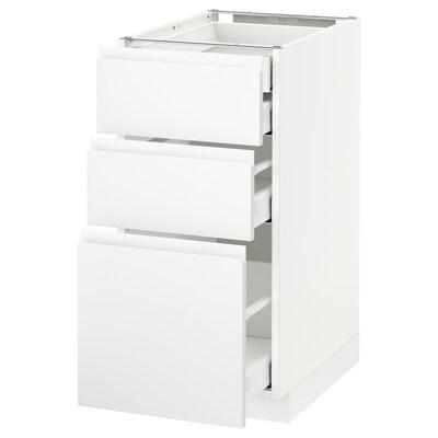 METOD / MAXIMERA Usk 3 front/2 lav/1 mell/1 høj skuf, hvid/Voxtorp mat hvid, 40x60 cm