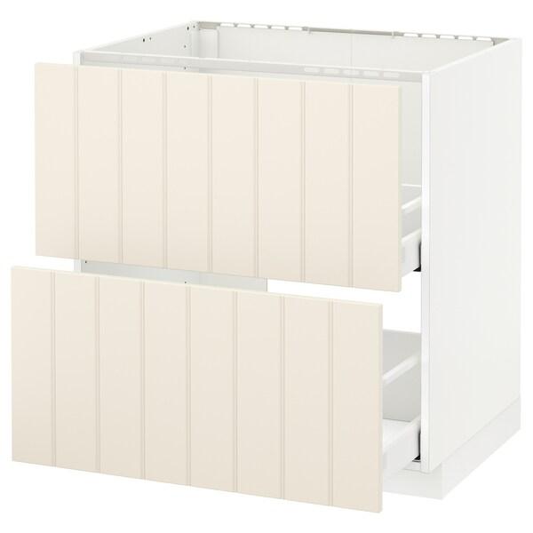 METOD / MAXIMERA Usk vask+2 fronter/2 skuffer, hvid/Hittarp råhvid, 80x60 cm