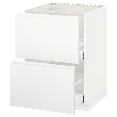 METOD / MAXIMERA Usk vask+2 fronter/2 skuffer, hvid/Voxtorp mat hvid, 60x60 cm