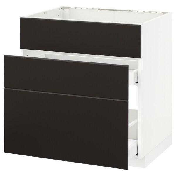 METOD / MAXIMERA Usk vask+3 fronter/2 skuffer, hvid/Kungsbacka antracit, 80x60 cm