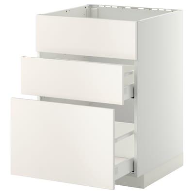METOD / MAXIMERA Usk vask+3 fronter/2 skuffer, hvid/Veddinge hvid, 60x60 cm