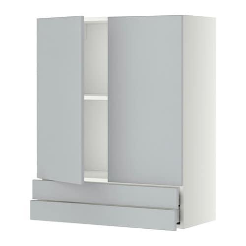 V?gskab med 2 d?re2 skuffer  hvid, Veddinge gr?, 80×100 cm  IKEA
