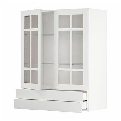 METOD / MAXIMERA Vægskab med 2 vitrilåger/2 skuffer, hvid/Stensund hvid, 80x100 cm