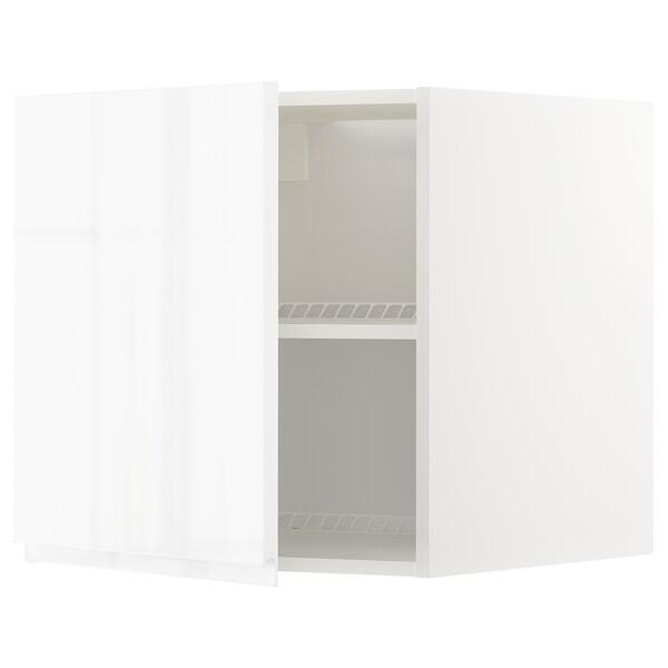 METOD Overskab til køl/frys, hvid/Voxtorp højglans/hvid, 60x60 cm