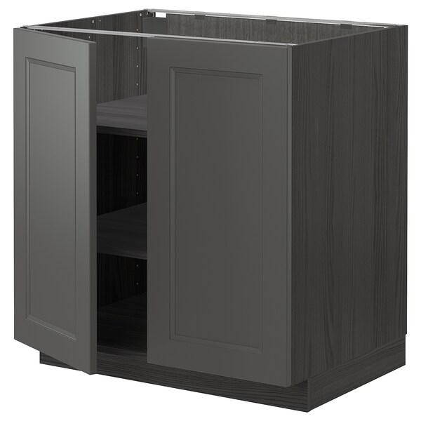 METOD Underskab m hylde/2 døre, sort/Axstad mørkegrå, 80x60 cm