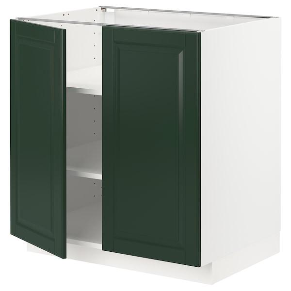 METOD Underskab m hylde/2 låger, hvid/Bodbyn mørkegrøn, 80x60 cm