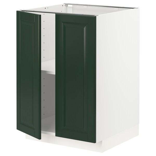 METOD Underskab m hylde/2 låger, hvid/Bodbyn mørkegrøn, 60x60 cm