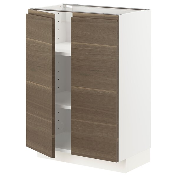 METOD Underskab m hylde/2 låger, hvid/Voxtorp valnøddetræsmønstret, 60x37 cm