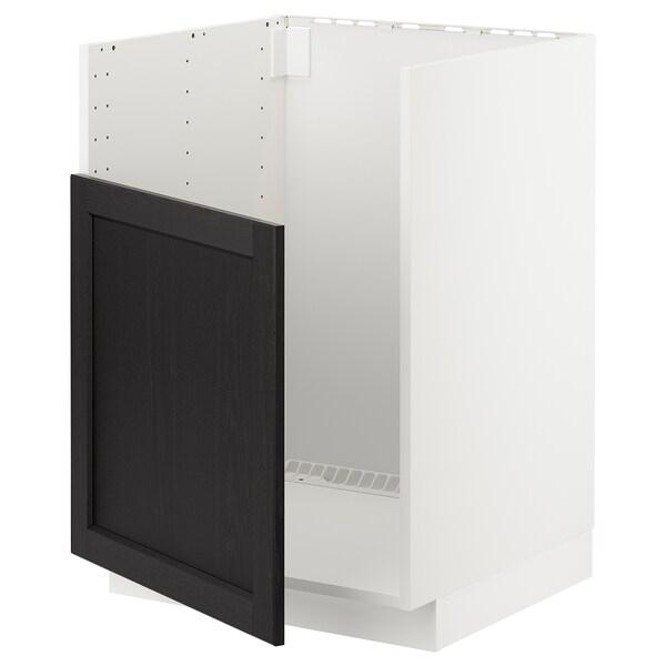 METOD Underskab til BREDSJÖN vask, hvid/Lerhyttan sort bejdse, 60x60 cm