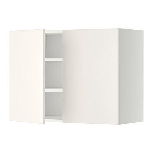 METOD Vægskab med hylder/2 døre - hvid, Veddinge hvid, 80x60 cm - IKEA