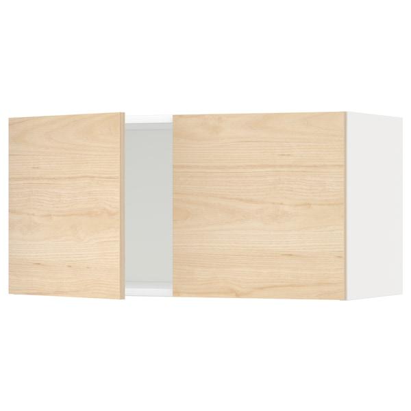 METOD Vægskab med 2 låger, hvid/Askersund lyst askemønster, 80x40 cm