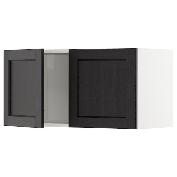METOD Vægskab med 2 låger, hvid/Lerhyttan sort bejdse, 80x40 cm