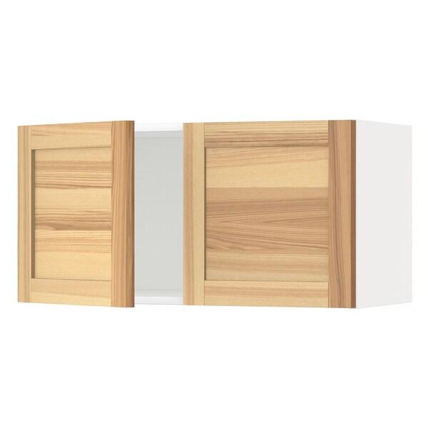 METOD Vægskab med 2 låger, hvid/Torhamn ask, 80x40 cm